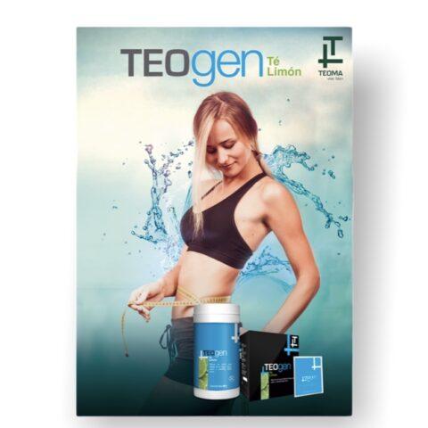 El TeoGen Té Limón es una deliciosa bebida hecha a base de té negro, L-carnitina y algas marinas, con la adición de vitaminas A, B2 y B3.  Puede ser consumido en cualquier momento del día y se puede servir frío, tibio o caliente. Es parcialmente endulzado con stevia y aporta una cantidad significativa de vitaminas.  INGREDIENTES PRINCIPALES  Té negro: contiene polifenoles y antocianinas con acción antioxidante, taninos, teína, proteínas vegetales, complejo B, magnesio, calcio, fósforo y zinc. Debido a su contenido de antioxidantes, previene los daños causado por los radicales libres y tiene un efecto antienvejecimiento. L-Carnitina: es un aminoácido que mejora el estado de atención y el rendimiento deportivo. Tiene un efecto directo sobre el metabolismo de la grasa, ya que fomenta que los ácidos grasos sean utilizados como energía. Algas Marinas: tienen una alta concentración de nutrientes y son una gran fuente de fibra y yodo. El último es clave para el metabolismo energético celular. También contienen fósforo, calcio, hierro, vitamina A, y complejo B, C y E. MODO DE EMPLEO  Mezclar 1 cucharada medidora de 15g en un vaso con por lo menos 300 mL de agua fría, tibia o caliente.   PRESENTACIÓN  Frasco de 500g. SABOR: Té limón